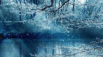 fundo de cenário de inverno e estrelas cadentes