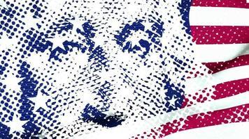 los presidentes george washington y abraham lincoln en billetes de un dólar mezclados con la bandera americana