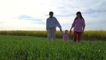 Young Couple And Daughter Walk In The Green Meadow