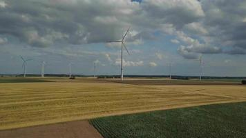 Windkraftanlagen in Maisfeldern video