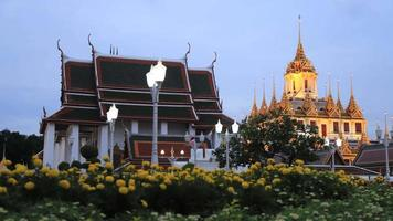 Famous temple  Loha prasat (metallic castle) of Ratchanadda Temple in Bangkok, Thailand