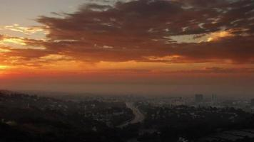 Time Lapse Clouds Float in a Sunrise over Los Angeles
