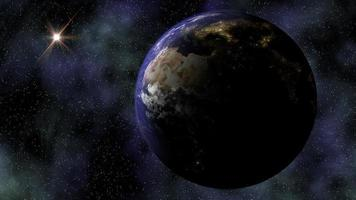 The Planet Earth rotates in Space from Day into Night