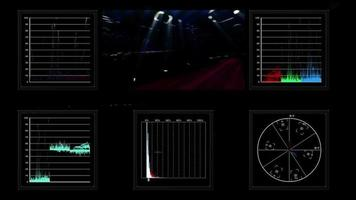 exibição de tela técnica de dados de vídeo pulsantes
