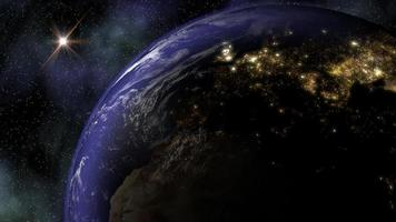 The Planet Earth in Space as Night Falls and City Lights Turn On