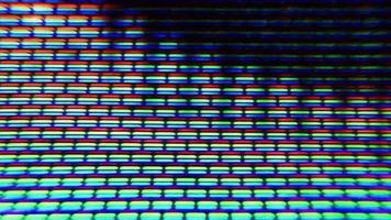 os pixels da tela da TV flutuam com a cor e o movimento do vídeo
