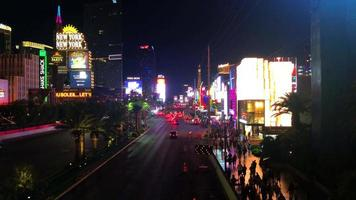 Blick auf den Streifen in Las Vegas bei Nacht 4k