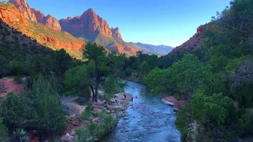 View Of River And Mountains At Zion National Park 4K
