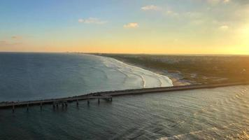Aerial View of Pier in Atlantic Ocean 4K