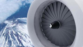 animação do motor da aeronave video