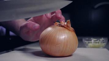 Home cook cutting onion in half for recipe