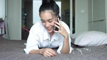 Young Asian Woman Talking On The Phone video