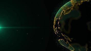 loop de vídeo de fundo de holograma de partículas globo terrestre