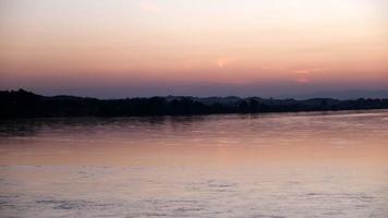 solnedgång naturskönt landskap med vatten och vass siluett svängande över solen. video