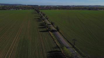 Vista aérea de una carretera en campo verde con árboles en 4k