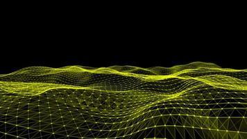 sobrevoando futurista sobre terreno ondulado com plexo 3D video