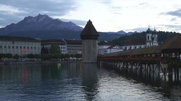 Chapel Bridge and Water Tower in Luzern City - Switzerland video