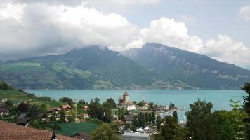 Spiez Castle with Thun Lake in Switzerland