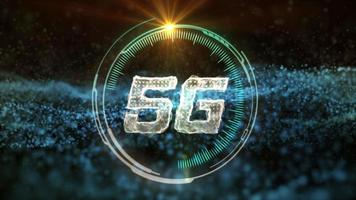 5G communication HUD with abstract gold network data transfering motion background video