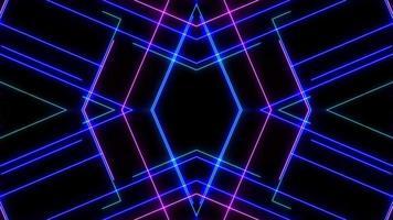 Espectáculo de láser de neón de luz abstracta sobre fondo negro