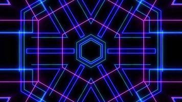 Espectáculo de láser de neón de luz abstracta sobre fondo negro video