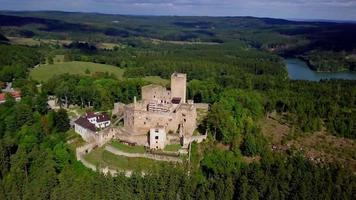 Drone orbiting an old castle in 4K