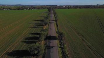 drone volando sobre una carretera con árboles en 4k