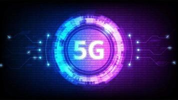 5G Technology Isometric Symbol in Blue and Purple