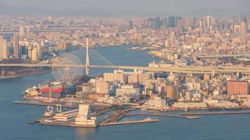 Aerial View of Osaka City Skyline