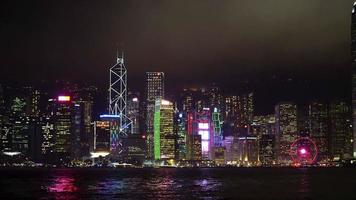 paisagem urbana de hong kong à noite video