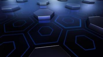 fundo hexágono 3d abstrato video