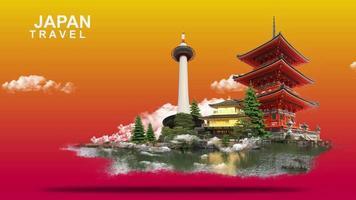 ilustração 3d do japão video