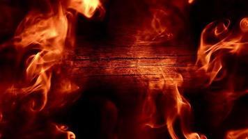 humo brillante y fondo de madera