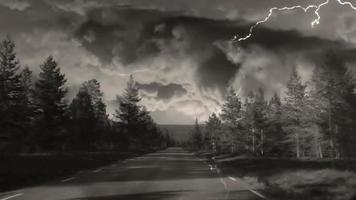 guida e tempesta di fulmini