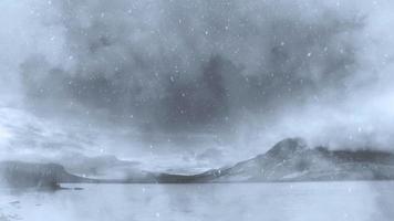 paisaje de fantasía y nieve cayendo