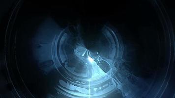 fond de cercles de lumière bleue