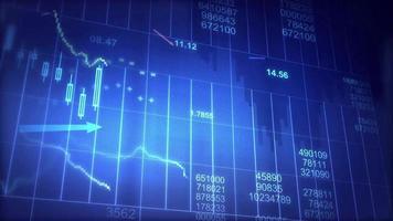 Visualización del mercado de valores en pantalla azul.