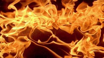 Cámara lenta de llama de fuego sobre fondo de noche oscura