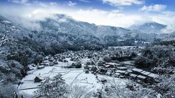Winter Shirakawago with Snowfall Gifu Chubu Japan,  World Heritage City.