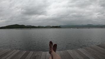 Man's feet relaxing