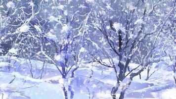 árvores abstratas de madeira com fundo de neve video