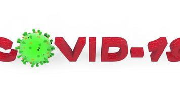brote de virus corona covid-19 bajo el microscopio, células de virus covid de influenza respiratoria patógeno flotante, virus de daño pulmonar, renderizado 3d. video