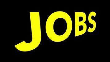 la palabra trabajos en amarillo con grano y distorsión