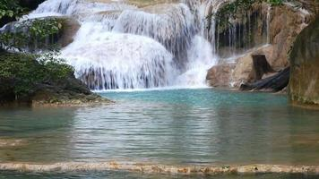 Beautiful Erawan Waterfall in the middle of the forest