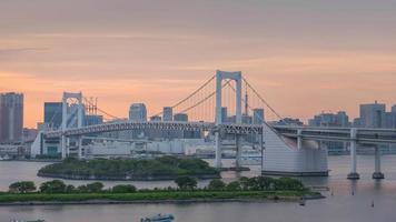 Time lapse at Rainbow Bridge, Odaiba, Tokyo, Japan