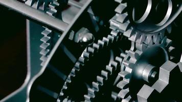 résumé, horloge industrielle, engrenages, gros plan video