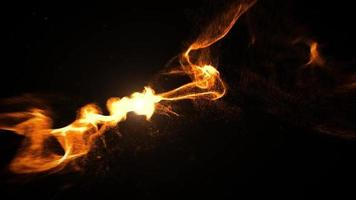 Bright balls of fire smashing in black background