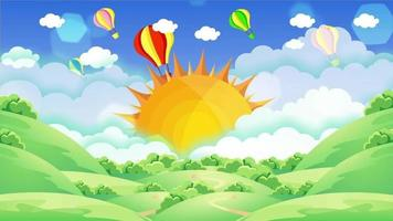 Bright colorful hot air balloons flying in the blue sky behind the sun
