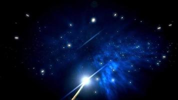 uma bola de fogo voando pelo espaço profundo, através das estrelas video
