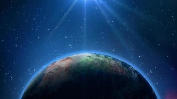 linda luz azul brilhando no planeta Terra girando no espaço video